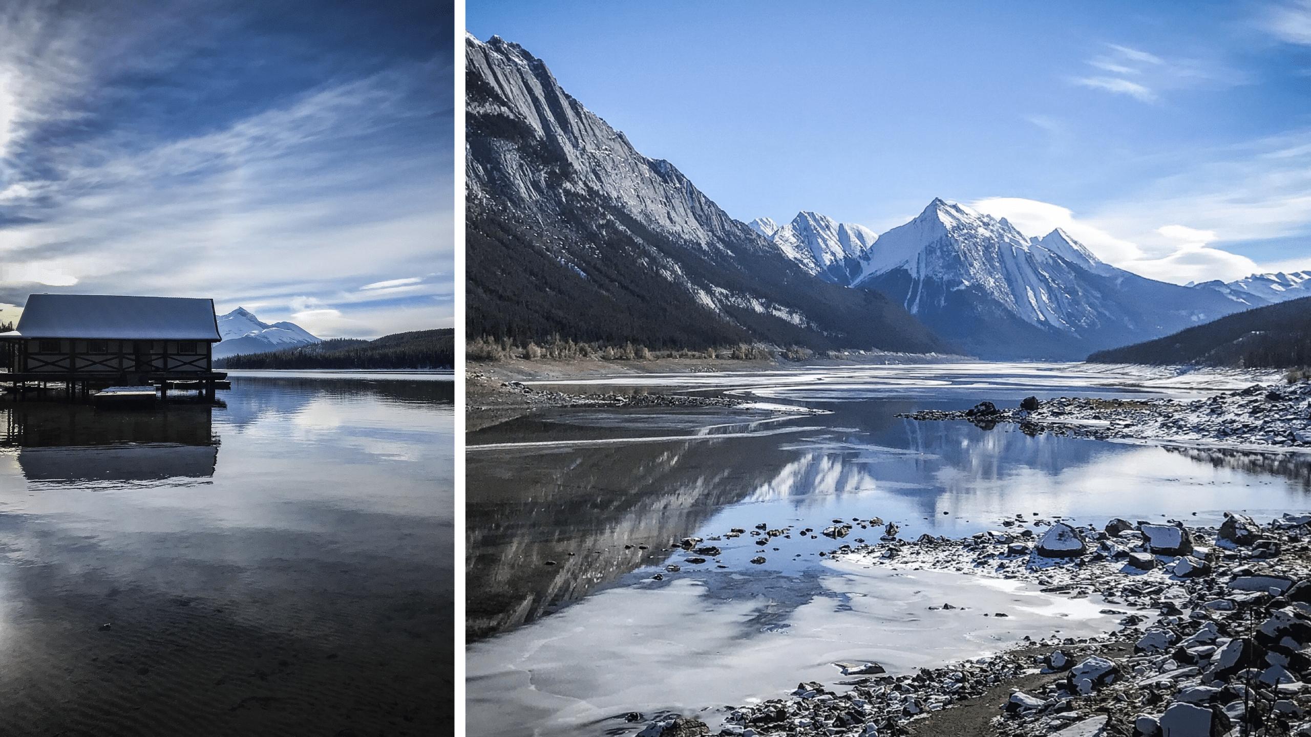 Les lacs médicine et maligne dans les rocheuses canadiennes