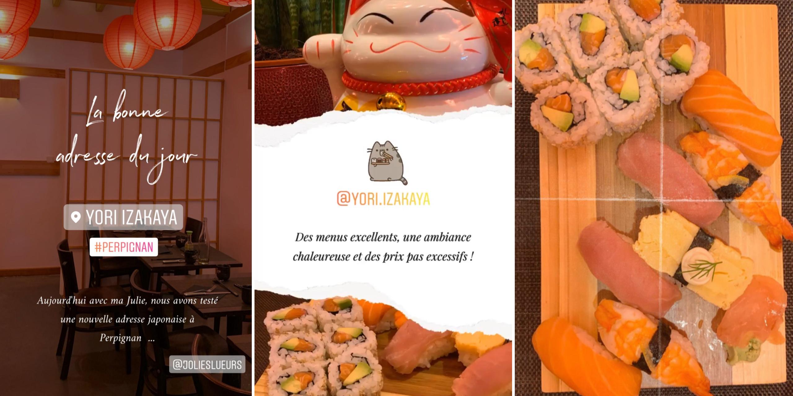 Storys instagram sushis yori izakaya restaurant japonais perpignan