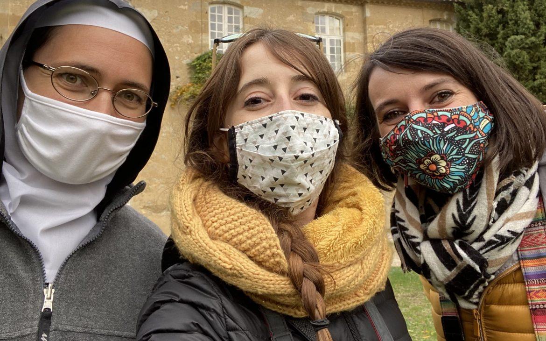 selfie avec Soeur Anne à l'abbaye de Boulaur